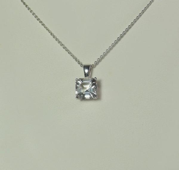 Asscher Cut Herkimer Diamond Pendant