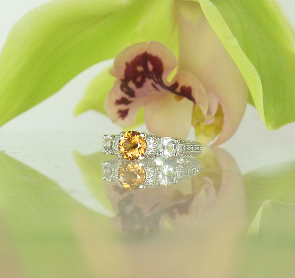 Natural Zircon Ring Sterling Silver Design Herkimer Diamond Accents Yellow