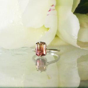 Bi Color Tourmaline Solitaire Ring