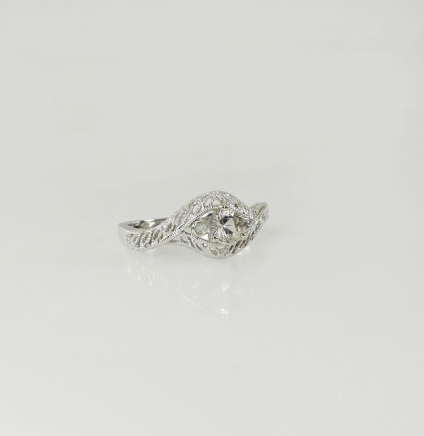 White Gold Herkimer Ring