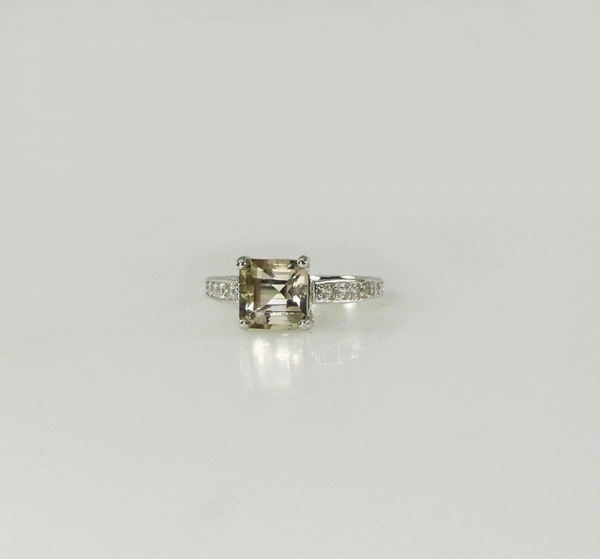 Herkimer Asscher Cut Ring