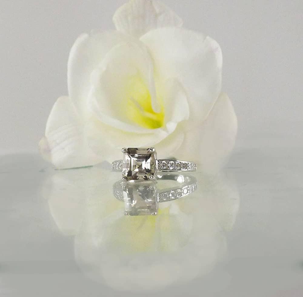 Herkimer Asscher Cut Ring