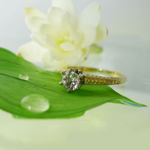 Yellow Gold Antique Style Engagement Ring