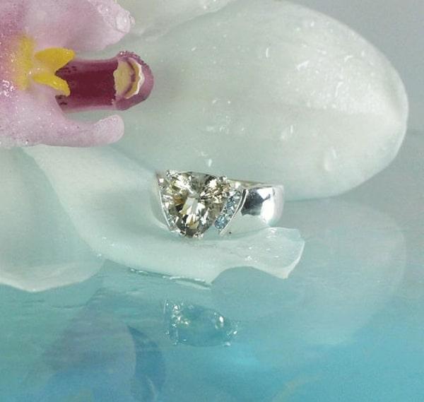Trillion herkimer diamond ring