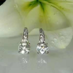 Herkimer diamond leverback earrings