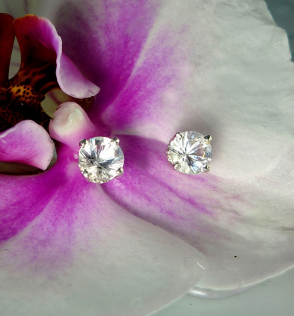 Herkimer Diamond Silver Stud Earrings