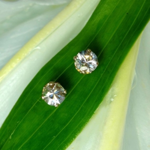 Gold Herkimer Diamond Stud Earrings