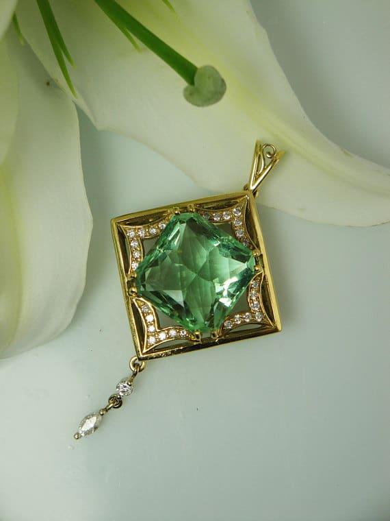 Green Fluorite Wise Mine Pendant