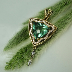 Green Fluorite Trillion Gold Pendant