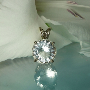 Herkimer Diamond White Gold Pendant