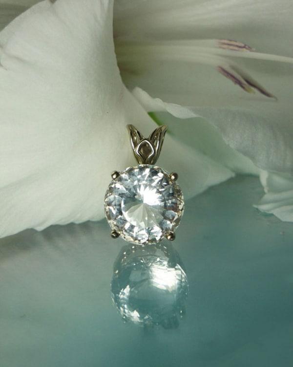 Herkimer Diamond White Gold Pendant