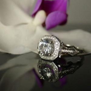 Art Deco Herkimer Diamond Engagement Ring
