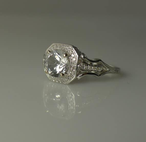 Herkimer Diamond Engagement Ring Reserved Set Art
