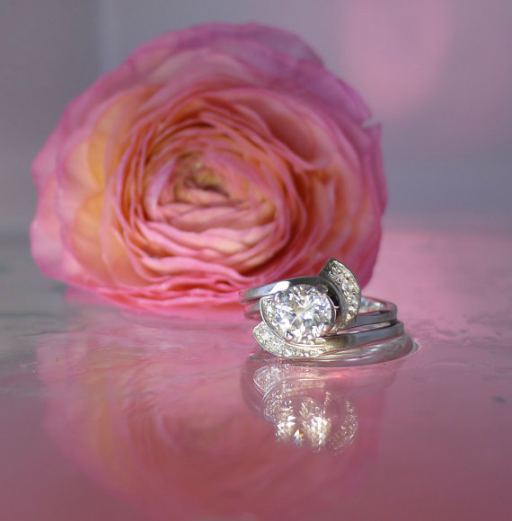 White sapphire engagement set
