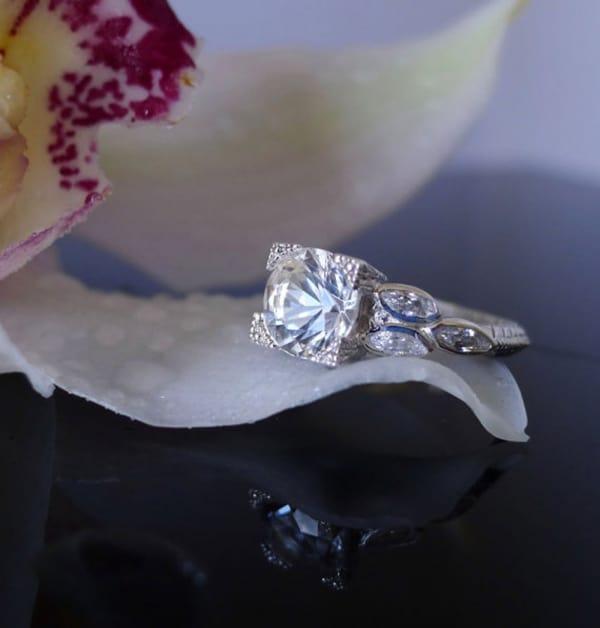Flower leaf ring