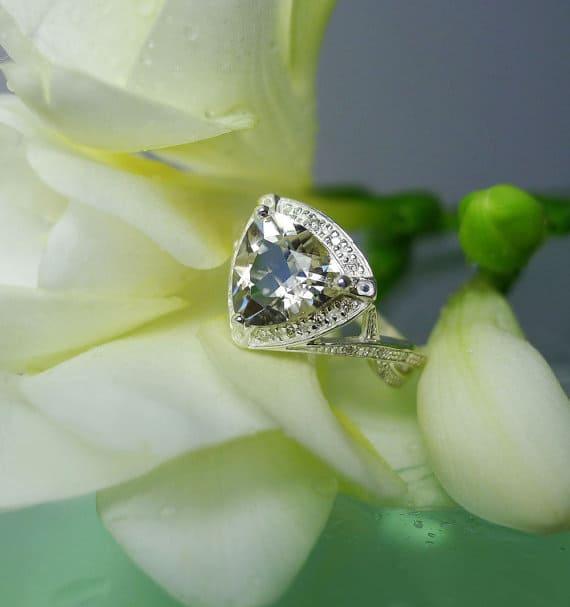 Trillion white gold engagement ring