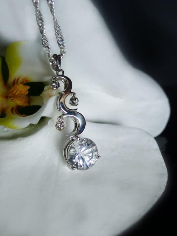 Moon Star Herkimer Diamond Pendant