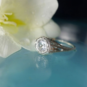 Antique Replica Herkimer Diamond Ring
