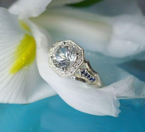 Herkimer diamond sapphire ring