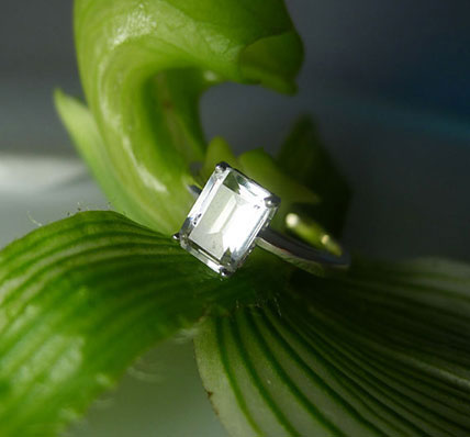 Herkimer Diamond Emerald Cut Ring Sterling Silver