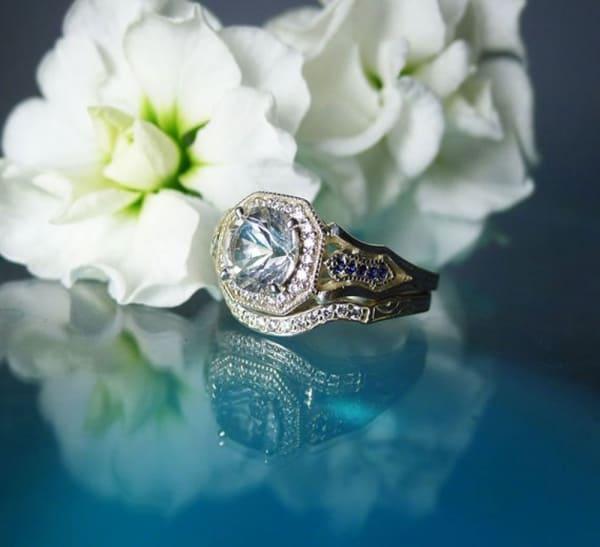 Herkimer Diamond Sapphire Wedding Set