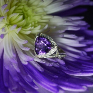 Amethyst Trillion Ring
