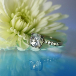 Herkimer diamond white gold engagement ring