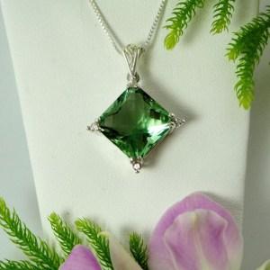 Green Fluorite Square Pendant