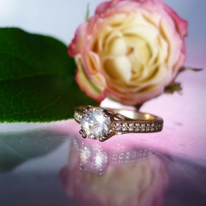 Herkimer Diamond Art Deco Rose Gold Ring