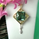 Green Fluorite Square Gold Pendant
