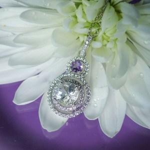Herkimer Diamond Amethyst Pendant