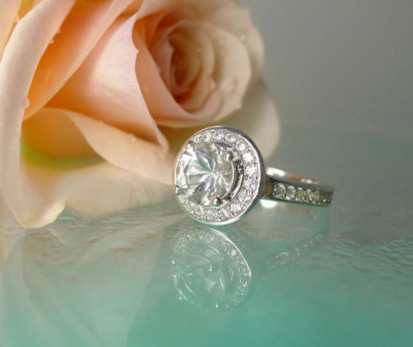 Herkimer Diamond Halo Engagement Ring