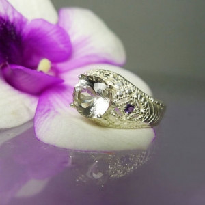 Herkimer Diamond Ring Amethyst Accent Design