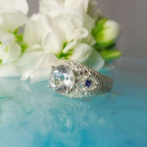 Herkimer Diamond Ring Blue Tourmaline Accents