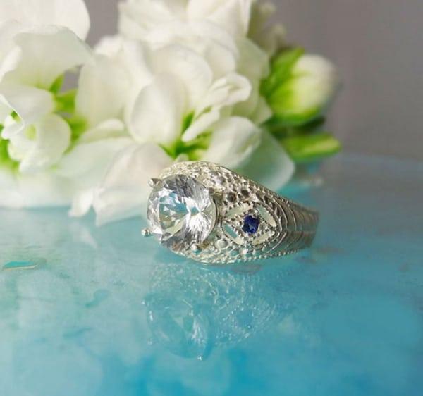 Herkimer Diamond Ring Blue Tourmaline Accents