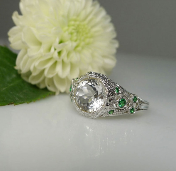 Herkimer Diamond Ring Emerald Accents