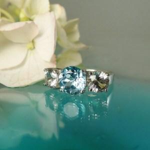 Blue Topaz Three Stone Ring