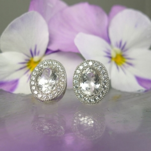 Herkimer diamond oval earrings