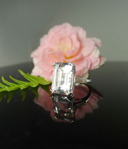 Herkimer Diamond Emerald Cut Ring