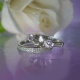 Herkimer Diamond Morganite Wedding Set