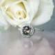 Smoky herkimer diamond halo ring