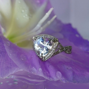 Trillion White Gold Herkimer Diamond Ring