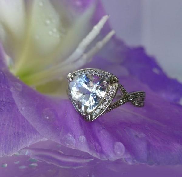 Trillion White Gold Herkimer Diamond Ring