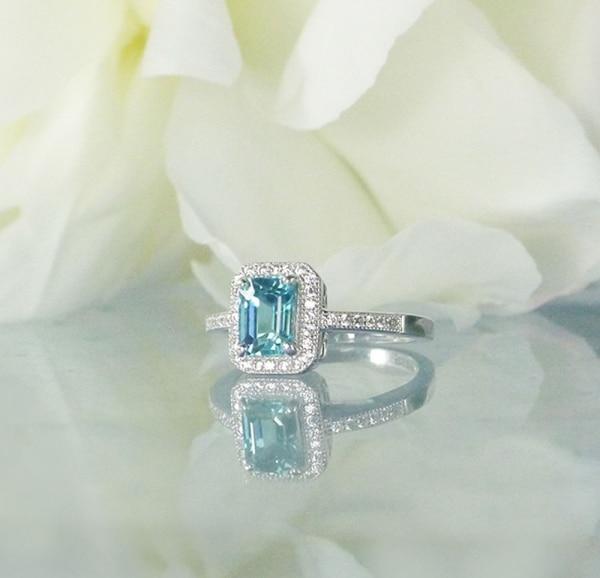 Blue Zircon Halo Ring
