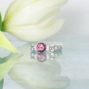 Pink tourmaline micro pave ring