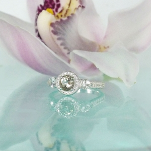 Herkimer Diamond Halo Ring