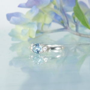 Aquamarine Three Stone Ring