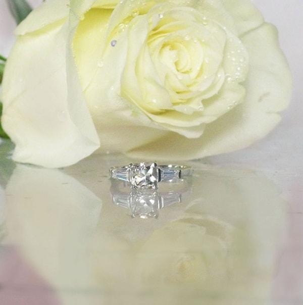 Cushion cut herkimer diamond ring