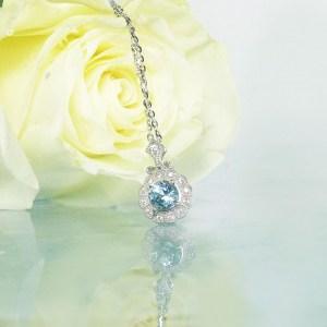 Aquamarine Silver Halo Pendant
