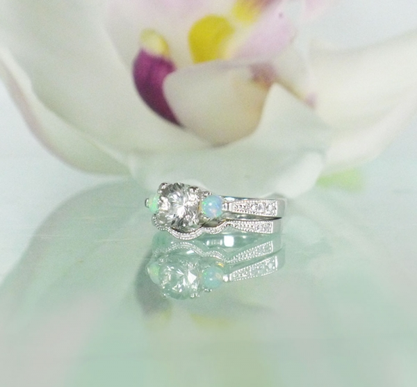 October Birthstone Wedding Set